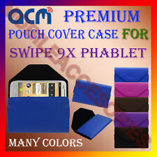 ACM-PREMIUM POUCH LEATHER CARRY CASE for SWIPE 9X PHABLET MOBILE COVER HOLDER