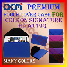 ACM-PREMIUM POUCH LEATHER CARRY CASE for CELKON SIGNATURE HD A119Q MOBILE COVER