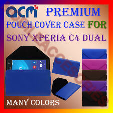 ACM-PREMIUM POUCH LEATHER CARRY CASE for SONY XPERIA C4 DUAL MOBILE COVER HOLDER