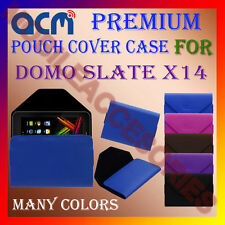 ACM-PREMIUM POUCH LEATHER CARRY CASE for DOMO SLATE X14 TABLET TAB COVER HOLDER