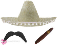 NATURAL MEXICAN SOMBRERO STRAW HAT ADD MOUSTACHE CIGAR FANCY DRESS COSTUME
