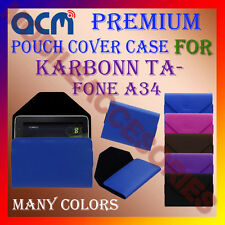 ACM-PREMIUM POUCH LEATHER CARRY CASE for KARBONN TA-FONE A34 TABLET TAB COVER