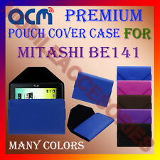 ACM-PREMIUM POUCH LEATHER CARRY CASE for MITASHI BE141 TABLET TAB COVER HOLDER