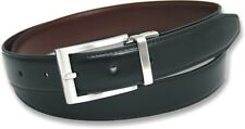 MENS GIFT BOXED BLACK BROWN REVERSIBLE REAL LEATHER BELT SIZES 32-48 CHRISTMAS