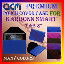 "ACM-PREMIUM POUCH LEATHER CARRY CASE for KARBONN SMART TAB 8"" TABLET COVER NEW"