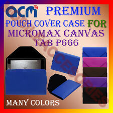 ACM-PREMIUM POUCH LEATHER CARRY CASE for MICROMAX CANVAS TAB P666 TABLET COVER
