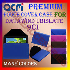 ACM-PREMIUM POUCH LEATHER CARRY CASE for DATAWIND UBISLATE 9CI TABLET TAB COVER