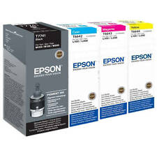 GENUINE EPSON ECOTANK T7741 T6642 T6643 T6644 4 COLOUR TANK VALUE PACK