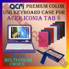 "ACM-USB COLOR KEYBOARD 8"" CASE for ACER ICONIA TAB 8 TABLET LEATHER COVER STAND"