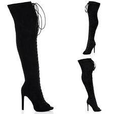 Womens Lace Up High Heel Stiletto Over Knee Tall Boots Sz 3-8