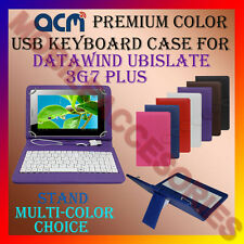 """ACM-USB COLOR KEYBOARD 7"""" CASE for DATAWIND UBISLATE 3G7 PLUS TAB COVER STAND"""