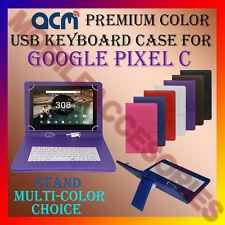"ACM-USB COLOR KEYBOARD 10"" CASE for GOOGLE PIXEL C TABLET LEATHER COVER STAND"