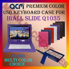 "ACM-USB COLOR KEYBOARD 10"" CASE for IBALL SLIDE Q1035 TABLET LEATHER COVER STAND"