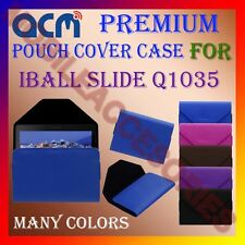 ACM-PREMIUM POUCH LEATHER CARRY CASE for IBALL SLIDE Q1035 TABLET COVER HOLDER