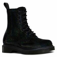 Dr.Martens Pascal Glitter Petrol 8 Eyelet Black Womens Boots