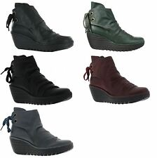 Fly London Yama  Leather Womens Wedge Heel Ladies Ankle Back Lace Up Boots