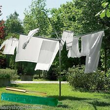 NEW 4 ARM ROTARY GARDEN WASHING LINE CLOTHES AIRER DRYER OUTDOOR + COVER & SPIKE