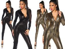 Sexy Ladies Wetlook Overall CATSUIT Jumpsuit GOGO GOLD Table dance Size S M #153