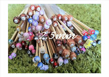 1 PAIR BEADED BAMBOO KNITTING NEEDLES, SIZE 2.5mm CHOOSE LENGTH, SIZE & BEAD