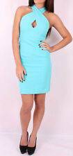 Wool Mix Stretch ladies  Chic Crossover blue green Dress NEW Size 6 8 10 12