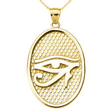 14k Yellow Gold Eye of Horus Oval Pendant Necklace