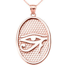 14k Rose Gold Eye of Horus Oval Pendant Necklace