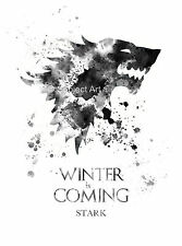 ART PRINT House Stark, Game of Thrones illustration, Winter is Coming, Wall Art