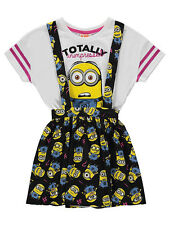 Girls Despicable Me Minions Pinafore Dress & T Shirt Set 5-6  6-7  7-8 Years NEW