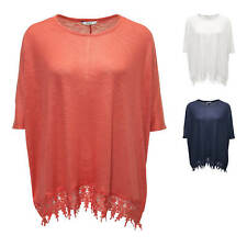 Only Damen T-Shirt Feinstrick  2/4 Boxy Top Tunika Kurzarmbluse Damenshirt Color