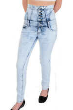 Womens Lace Up Back High Waist Light Denim Blue Acid Wash Skinny Jeans