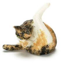 Dollhouse Miniature Calico Resin Cat Cleaning Itself by Falcon Miniatures