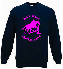 KIDS HORSE RIDING JUMPER - DRESSAGE JUMPING PERSONALISED SWEATER HORSE 5-15 H17
