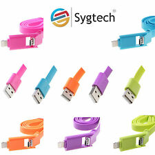 2 in 1 USB Cable,Sync Data Charge 8 Pin Cable/Cord for Apple iPhone & Android.