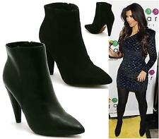 LADIES BLACK SUEDE HIGH HEEL CHELSEA PIXIE SUEDE PULL ON ANKLE BOOTS SHOES