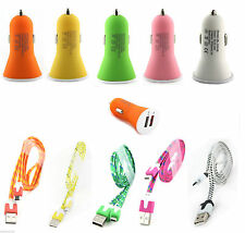 Dual usb car charger with sync and charge cable for Samsung,Micromax,Nokia,Xolo.