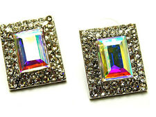 New Silver Tone Rectangle Cut Clear Pave Crystal Stud Earrings Wedding Prom