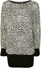 New Womens Plus Size Leopard Animal Print Long Batwing Sleeve Ladies Top 14 - 28