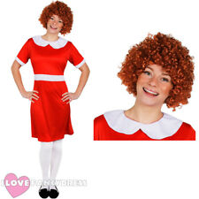 LADIES LITTLE ORPHAN FANCY DRESS COSTUME WITH CURLY WIG FILM MUSICAL CHARACTER