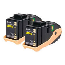 GENUINE EPSON S050606 C13S050606 YELLOW LASER PRINTER TONER CARTRIDGE TWIN PACK
