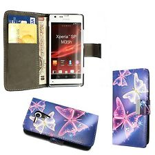 BLU CUSTODIA CON ROSA BIANCO FARFALLA BOOK FLIP CASE CUSTODIA PER SONY XPERIA PS