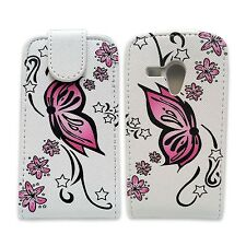 WHITE CASE PINK BUTTERFLY FLOWER PU LEATHER CASE FOR SAMSUNGGALAXY S3 MINI i8190