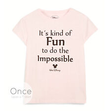 "Ladies DISNEY WALT DISNEY ""Fun to do the impossible"" QUOTE T Shirt from PRIMARK"