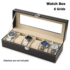 Black Classic 5 Grids Watch Jewelry Display Storage Holder Case Box Organizer