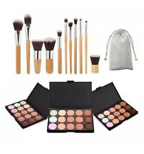 PROFESSIONAL MAKE UP WOODEN BRUSHES KIT COSMETIC MAKEUP SET BLACK POUCH CASE UK