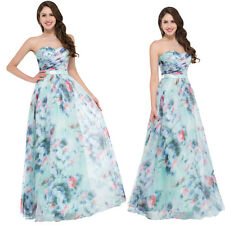 Vintage Floral Formal Chiffon Evening Ball Gown Party Prom Bridesmaid Dress 4-18
