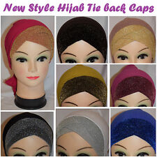 Eid Muslim Hijab Shiny Under Scarf Glitter MultiColour Hat Cap Bonnet Headscarf