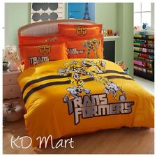 """New Kids """"Transformers""""printed Bed Quilt Cover Cotton Set Single/Queen/King"""