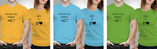 iberrys-Couple Tshirts- Polyester Would Marry Yes- Yellow-Green-Blue Color
