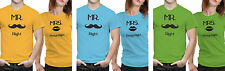 iberrys-Couple T shirts DryFit Polyester Mr. Mrs- Yellow-Green-Blue Colour