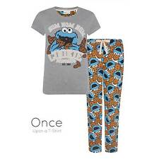 PRIMARK Ladies SESAME STREET COOKIE MONSTER Pyjamas Lounge Pants T-Shirt PJ SET